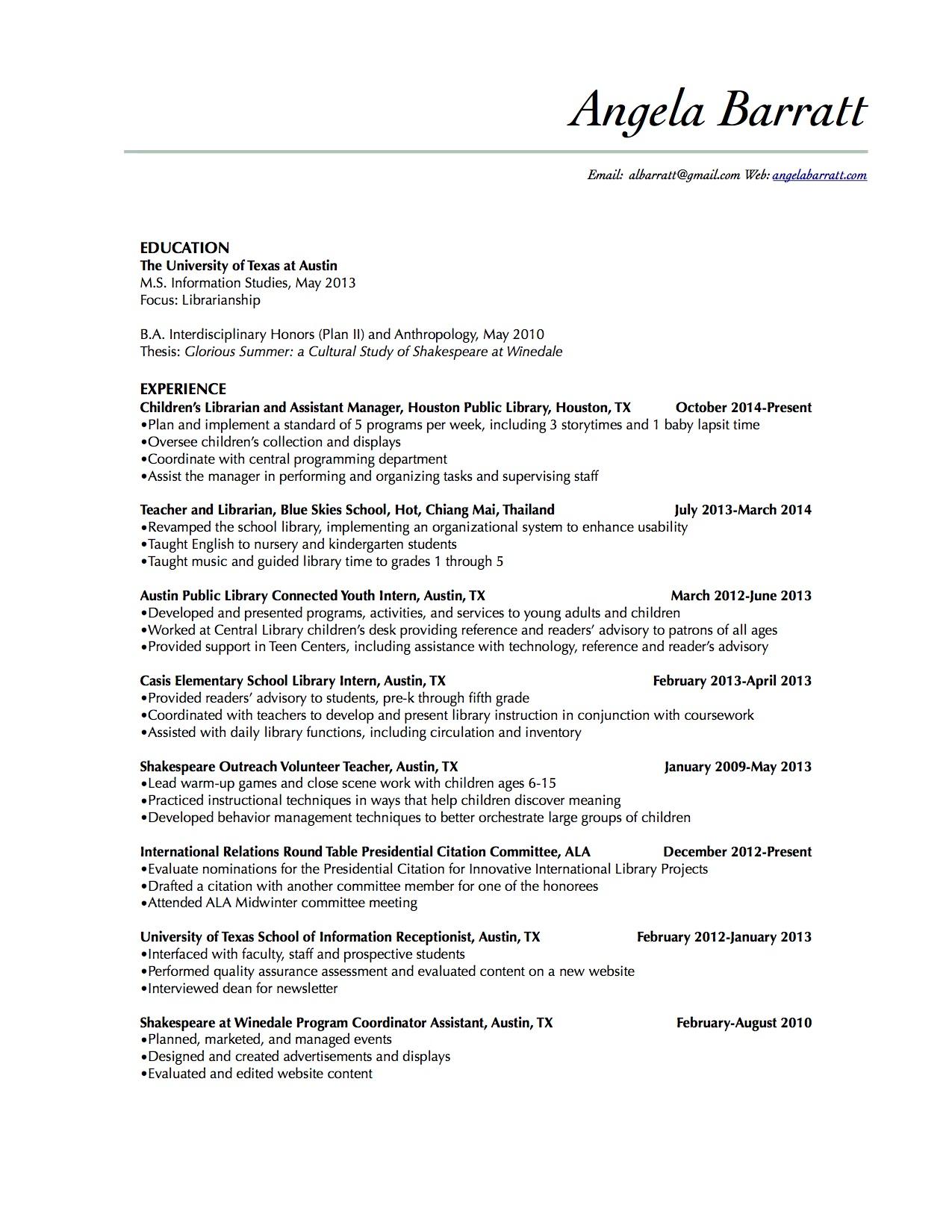 Resume Angela Barratt